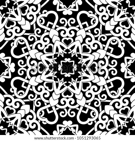 Hand drawn seamless pattern abstract ornament. Black and white decorative elements. Oriental motifs. Perfect for wallpaper, adult coloring books, web page background, surface textures.