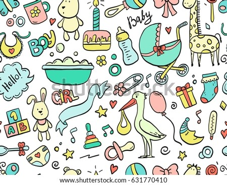 Hand drawn seamless pattern baby and newborn doodle for wallpaper. Cartoon sketch style doodle with baby toy, food, ball, balloon, moon, star, milk bottle, birthday elements. Vector illustration.