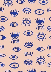 Hand drawn seamless pattern in the style of psychedelic eyes.Vector hand drawn wink, open, close eyes with lash ,on a maroon background. Pattern for fashion, textile, cover,wallpaper,social media.
