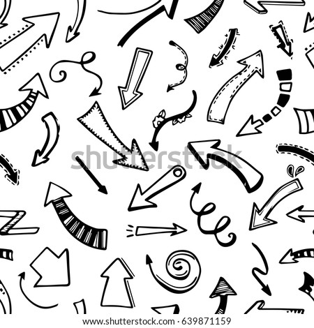 Hand drawn seamless pattern of arrow for abstract and art background or banner. Cartoon style arrow with decorative elements. Creative ink sketch of arrow pattern. Vector illustration