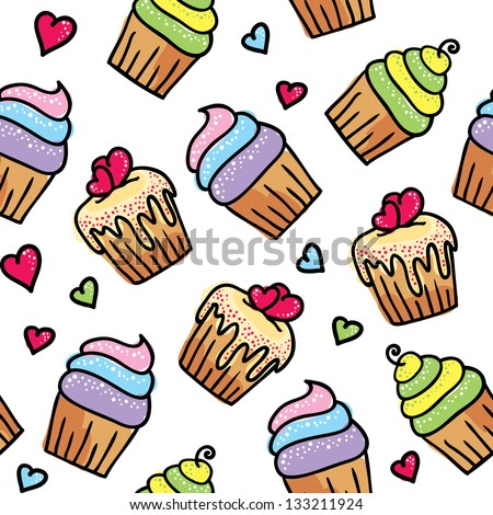 hand drawn seamless pattern of cute cupcakes