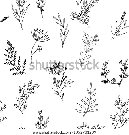 Hand-drawn seamless pattern of floral elements, plants and flowers. Isolated branches on a white background. Elements of design. Vector illustrations. #1052781239