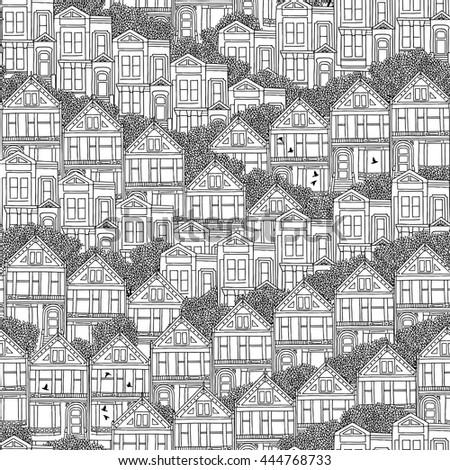 hand drawn seamless pattern of