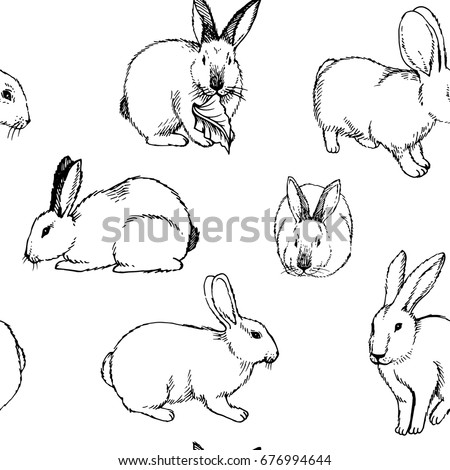 Hand drawn Seamless Pattern. Sketch background with rabbits isolated on white. Ink illustration of rabbits sitting in various poses.