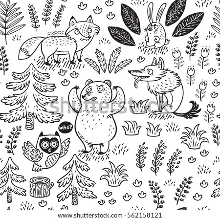 Hand Drawn Seamless Pattern With Animals In Outline