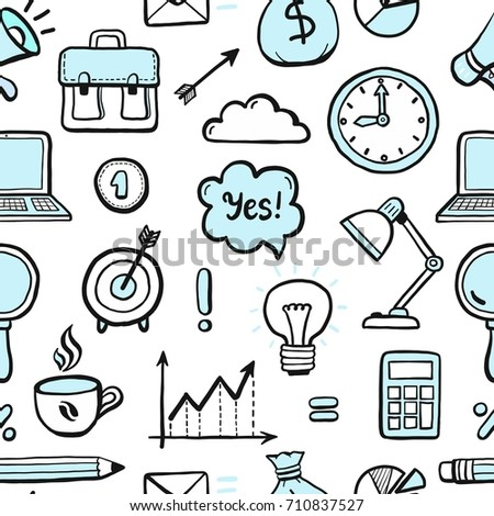 Hand drawn seamless pattern with business and finance doodle elements: money, document, calculator, coffee, diagram, pen, arrow. Vector illustration for wallpaper, background texture. Sketch design.