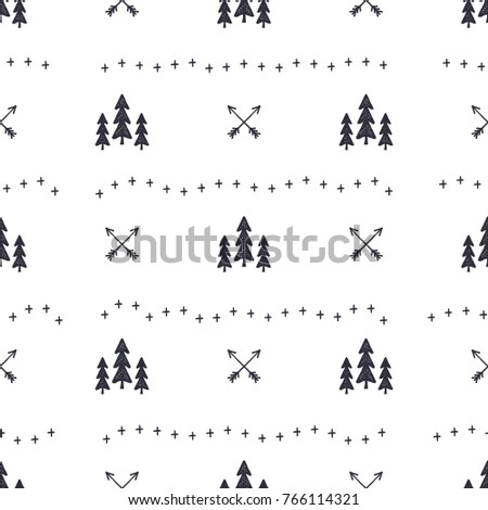 Hand drawn seamless pattern with Christmas tree, arrows design elements. Xmas wallpaper. Holiday vector background patter design isolated on white.