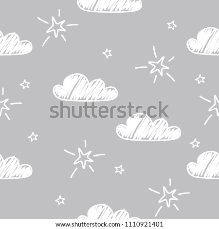 Hand-drawn seamless pattern with cute clouds, stars on a gray background.