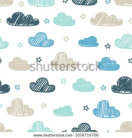 Hand-drawn seamless pattern with cute clouds, stars on a white background.
