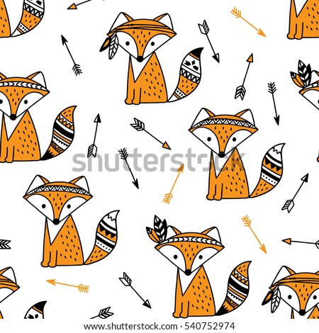 hand drawn seamless pattern with cute fox