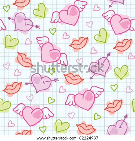 hand drawn seamless pattern with cute hearts