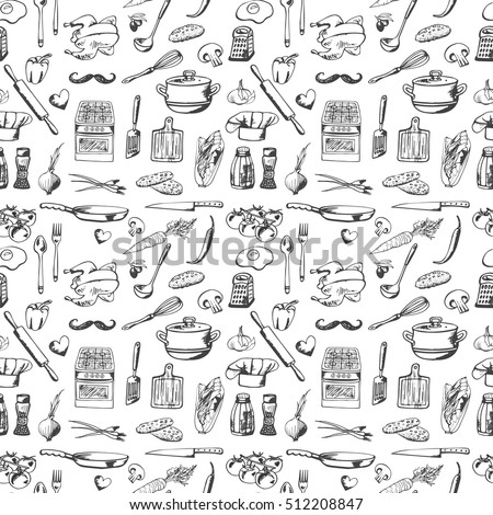 Hand drawn seamless pattern with decorative cooking icons. Vector sketch background with kitchen utensils,  vegetables, cooking hob, products, kitchenware. Doodle elements.