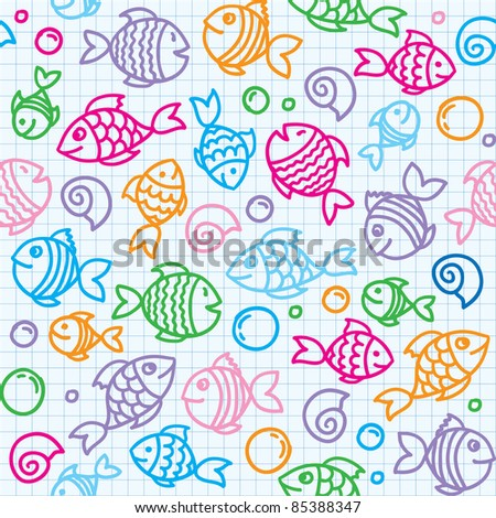 hand drawn seamless pattern with funny fishes