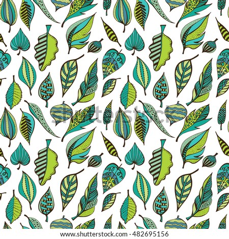 Hand drawn seamless pattern with  leaves in doodle style. Autumn natural design for greeting card. Vector illustration, sketch  background.