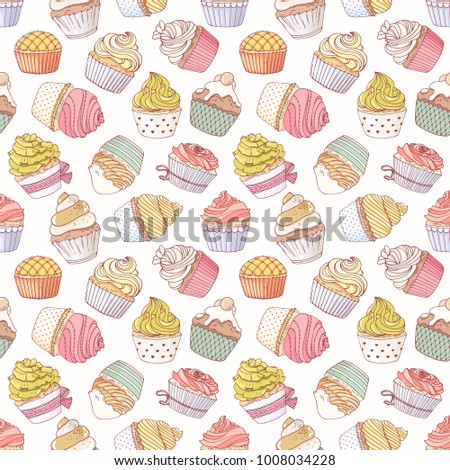 Hand drawn seamless pattern with many different cupcakes. Doodle background for backery or food packaging. Vector illustration