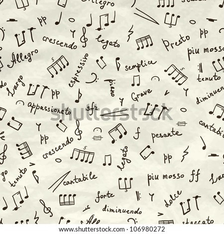 hand drawn seamless pattern with musical signs on wrinkled paper