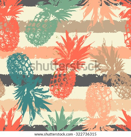 Hand drawn seamless pattern with pineapple in vector - stock vector
