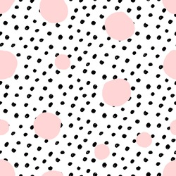 Hand drawn seamless repeat pattern with round shapes in pastel pink and black dots texture on white background. Modern and original textile, wrapping paper, wall art design.
