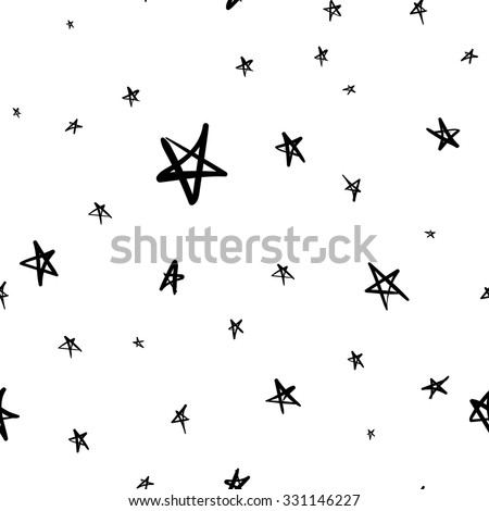 Hand drawn seamless star pattern with ink doodles. Vector background