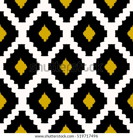 Hand drawn seamless tribal pattern in black, yellow and cream. Modern textile, wall art, wrapping paper, wallpaper design.