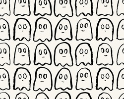 hand drawn seamless vector ink halloween ghost pattern