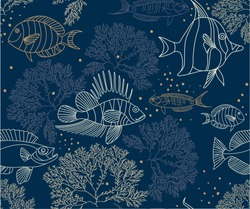 Hand drawn seamless vector pattern. Trendy pattern with fishes and algae on a blue background for printing, fabric, textile, manufacturing, wallpapers. Sea bottom
