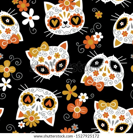 Hand drawn seamless vector pattern with cute cat sugar skulls and flowers on black background. Perfect for fabric or wrapping paper.