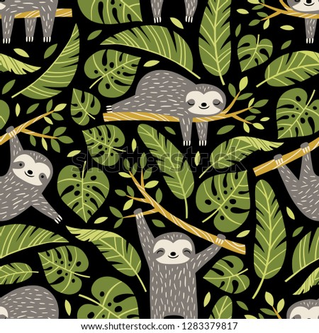 Hand drawn seamless vector pattern with cute sloths and tropical palm leaves on black background.