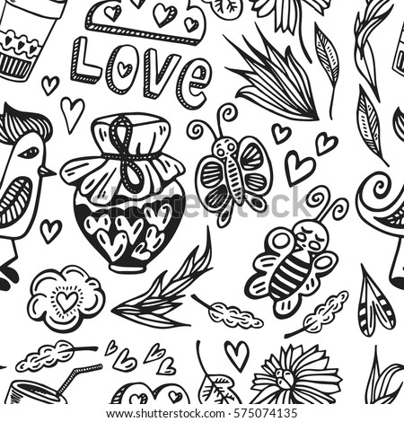 Hand drawn seamless vector romantic pattern. Birds, butterfly, hearts and flowers in doodle childish style. Romantic cute elements for Valentine's  and wedding day card, prints and t-shirts design. #575074135