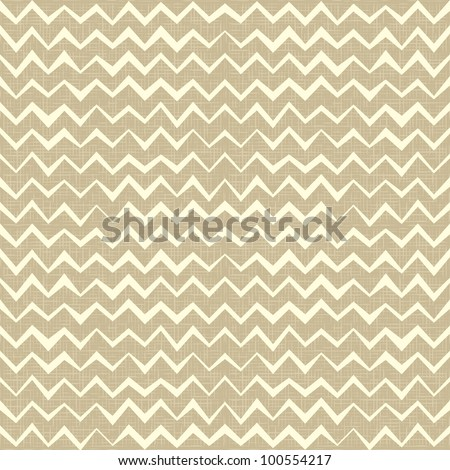 Hand drawn Seamless zigzag pattern on linen canvas background. Vintage rustic burlap chevron. eps 10