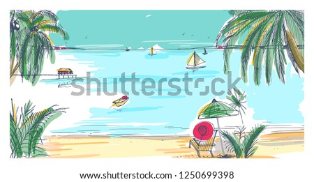 Hand drawn seaside landscape. Tropical resort with deck chair and umbrella, sand beach, exotic palm trees and sail boats floating in sea or ocean on horizon. Colorful realistic vector illustration.