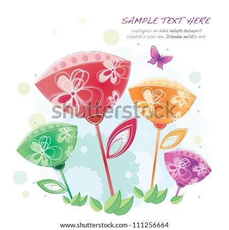 hand drawn series (oriental flowers)