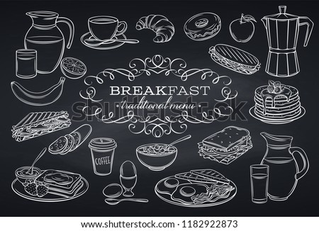 stock-vector-hand-drawn-set-breakfast-icons-on-chalkboard-jug-of-milk-coffee-pot-cup-juice-sandwich-and
