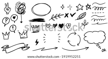 Hand drawn set doodle elements for concept design isolated on white background. vector illustration.