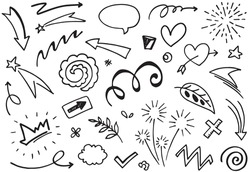 Hand drawn set elements, Abstract arrows, ribbons, fireworks, hearts, lightning,love , leaf, stars, crowns and other elements in a hand drawn style for concept designs. Scribble illustration.