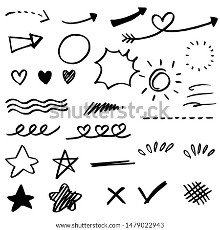 Hand drawn set elements, black on white background. Arrow, heart, love, speech bubble, star, leaf, sun,light,check marks ,crown, king, queen,Swishes, swoops, emphasis ,swirl, heart, for concept