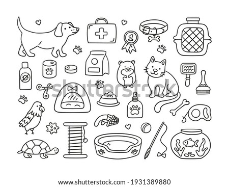 Hand drawn set for pet shop and veterinary clinic. Pets, food, toys, and grooming accessories. Vector illustration in doodle style on white background