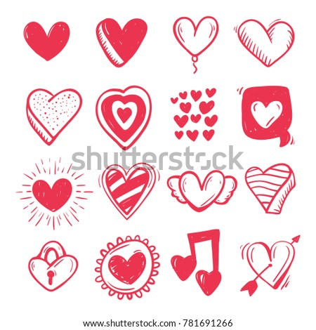 Hand drawn set heart .