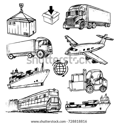 hand drawn set logistic collection with transport for logistics