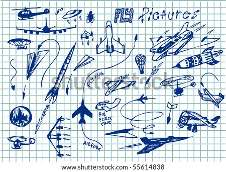 hand drawn set of airplanes icons