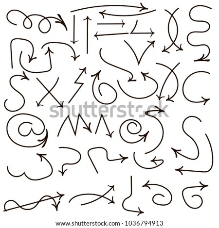 Hand drawn set of arrow elements. Marker elements four your disign. #1036794913