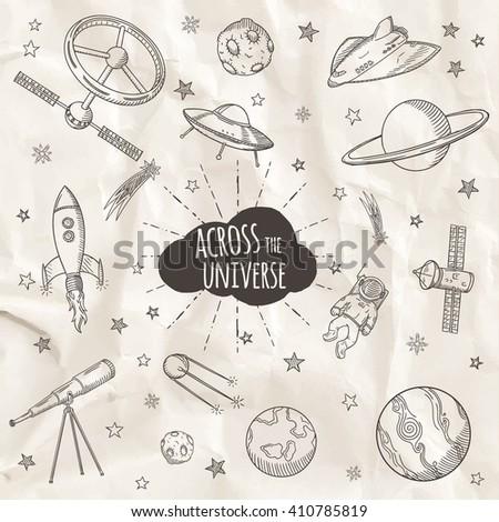 hand drawn set of astronomy