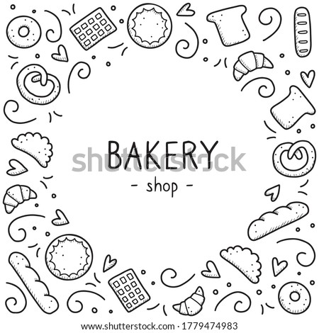 Hand drawn set of bakery and baking elements, bread, pastry, croissant, cake, donut. Doodle sketch style. Bakery element drawn by digital pen. Vector illustration for menu, frame, recipe design.