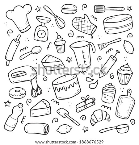 Hand drawn set of baking and cooking elements, mixer, cake, spoon, cupcake, scale. Doodle sketch style. Bakery element drawn by digital brush-pen. Illustration for icon, menu, recipe design. Foto stock ©