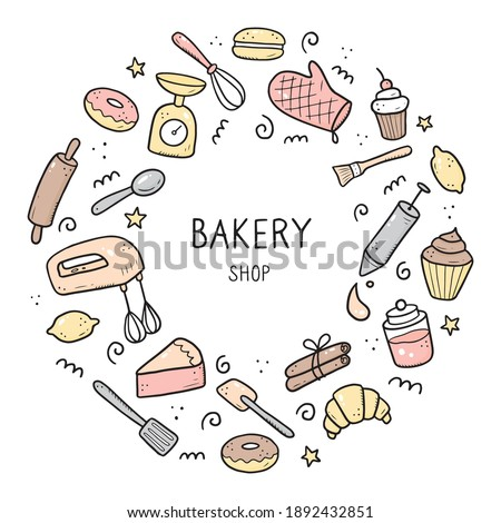 Hand drawn set of baking and cooking tools, mixer, cake, spoon, cupcake, scale. Doodle sketch style. Illustration for frame, poster, banner, menu, recipe book, baking shop, bakery site design.