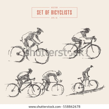 hand drawn set of bicyclist