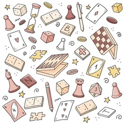 Hand drawn set of board game element, cards, chess, hourglass, chips, dice, dominoes. Doodle sketch style. Isolated vector illustration for board game shop, store, game competition.