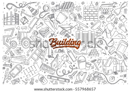 hand drawn set of building