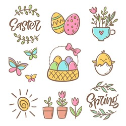Hand drawn set of calligraphy, eggs, flowers, birds, other elements. Easter vector collection of illustrations for invitation greeting card, poster, scrapbooking, sticker, tag kit, social media design