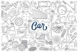 Hand drawn set of car service doodles with dark blue lettering in vector